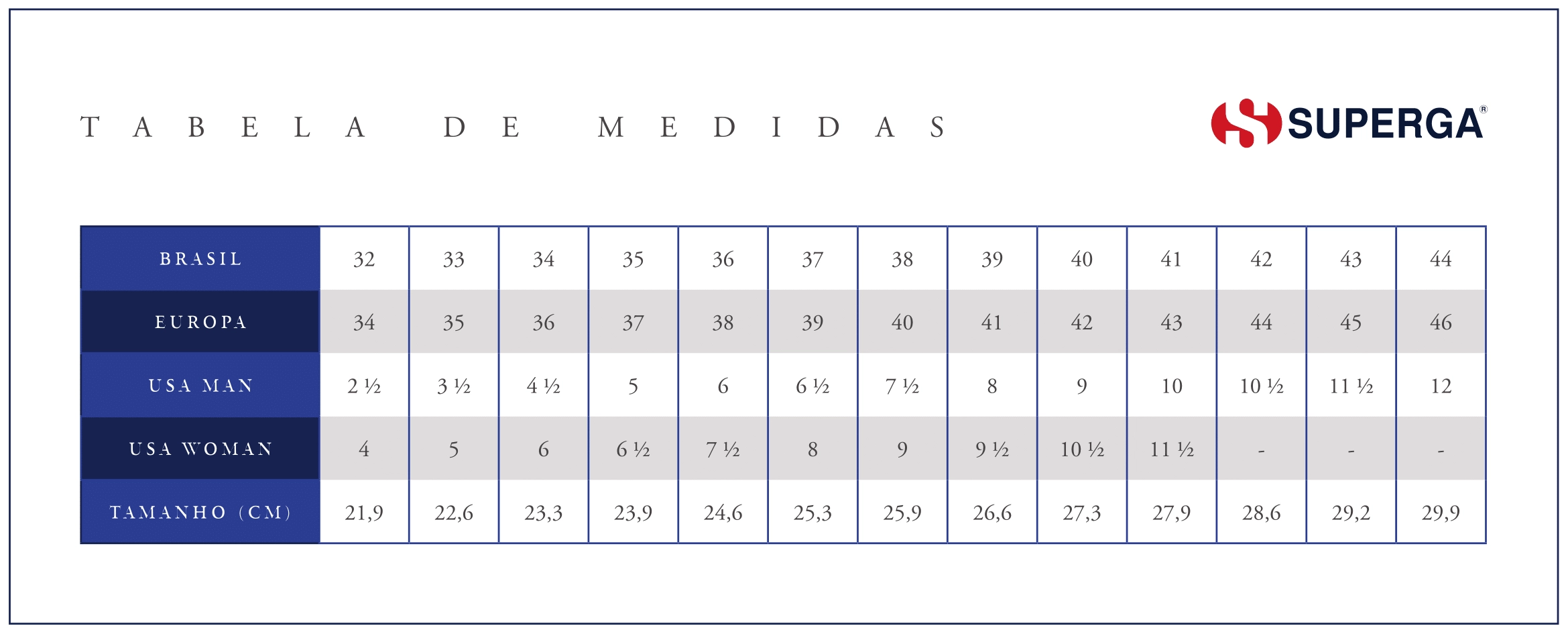 Tabela de Medida Superga