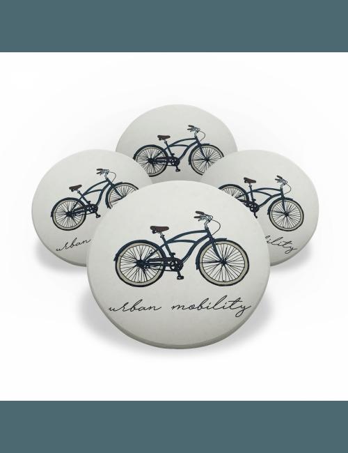 Jogo Porta Copos de Cerâmica 4 unidades - Bike