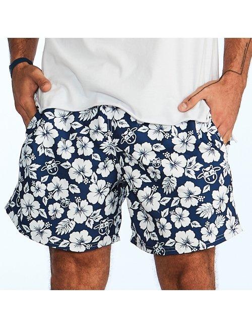 COMBO Pai + Filho - Shorts Floral Azul Marinho