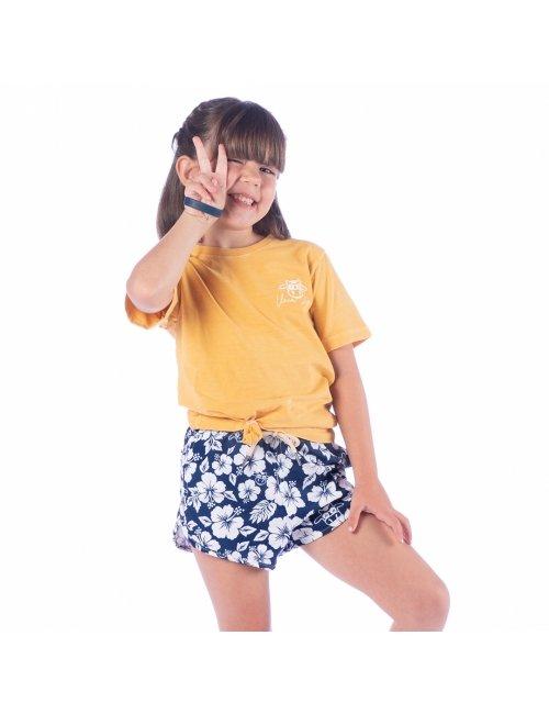 Short Infantil Feminino Floral - Azul Marinho