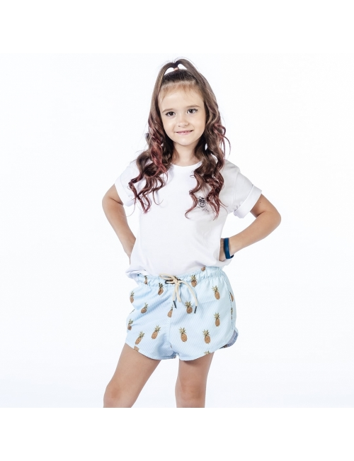 Shorts de Praia Infantil Feminino - Abacaxi
