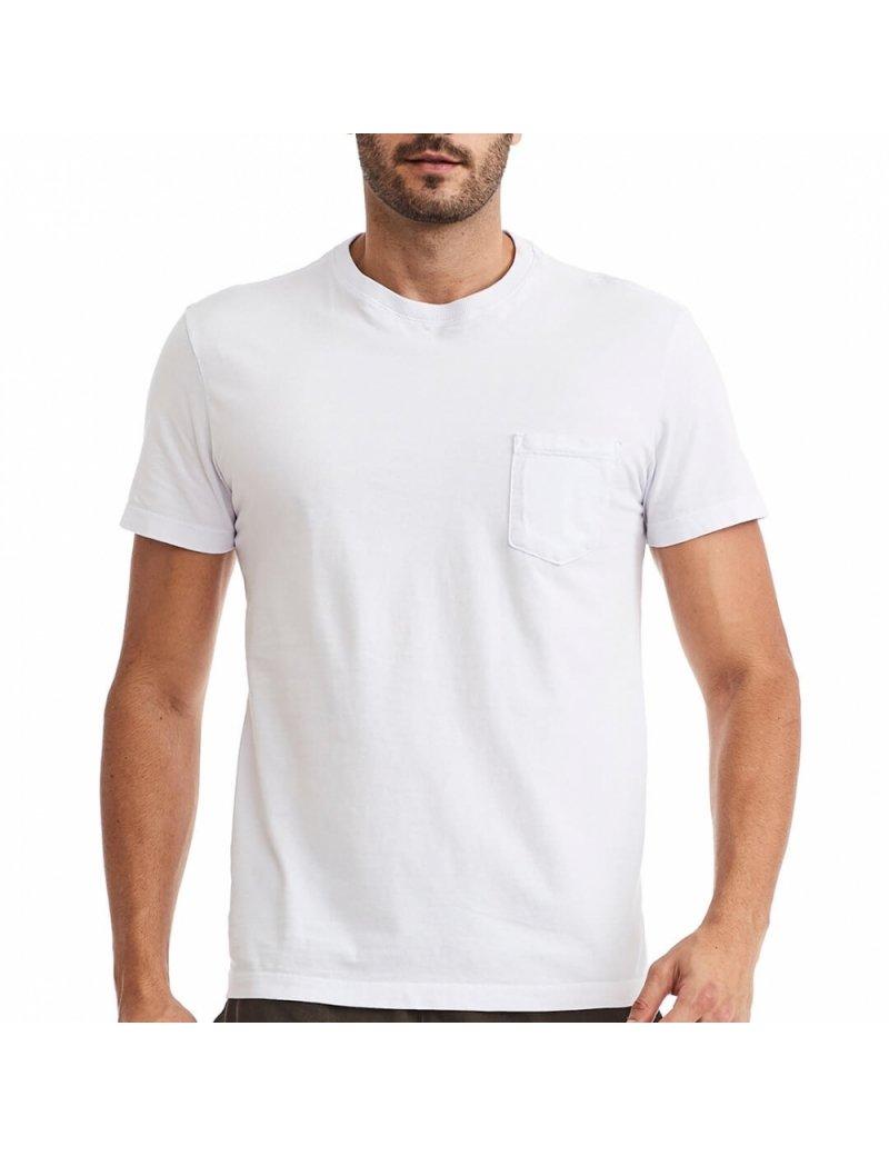 Camiseta Bolso Masculina Branca - Básica