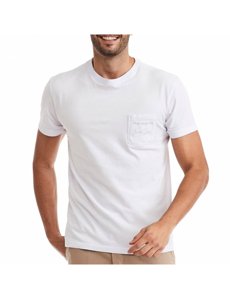 Camiseta Bolso Masculina Branca - Its All About Love