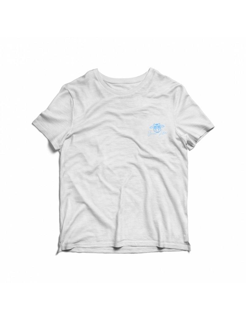 Camiseta Infantil Vaca Lôca - Branco com Azul Bebê