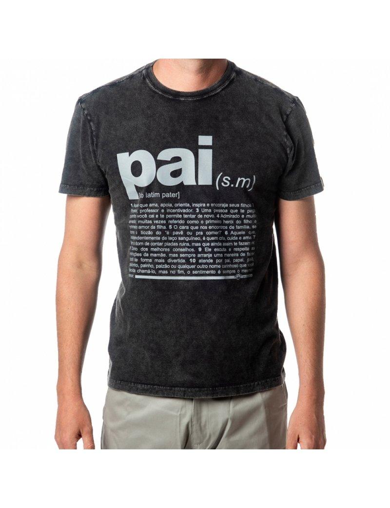 Camiseta Marmorizada Vaca Lôca Pai - Preto