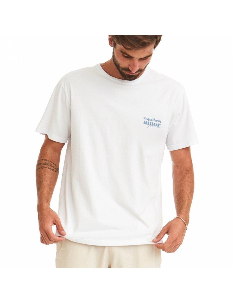 Camiseta Masculina Dia do Amor - Branca com Azul