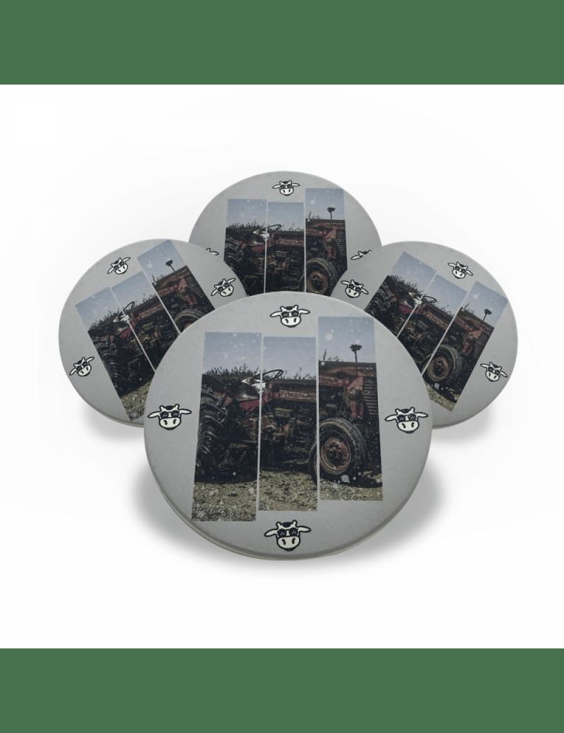 Jogo Porta Copos de Cerâmica 4 unidades - Trator