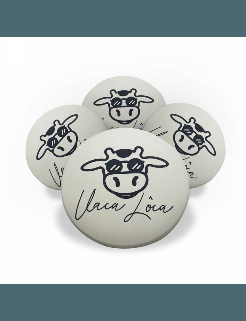 Jogo Porta Copos de Cerâmica 4 unidades - Vaca Lôca