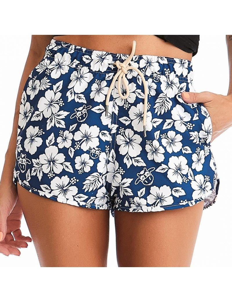 Shorts de Praia Feminino Floral Cós Elástico - Azul Marinho