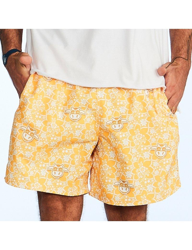 Shorts de Praia Masculino Floral - Amarelo