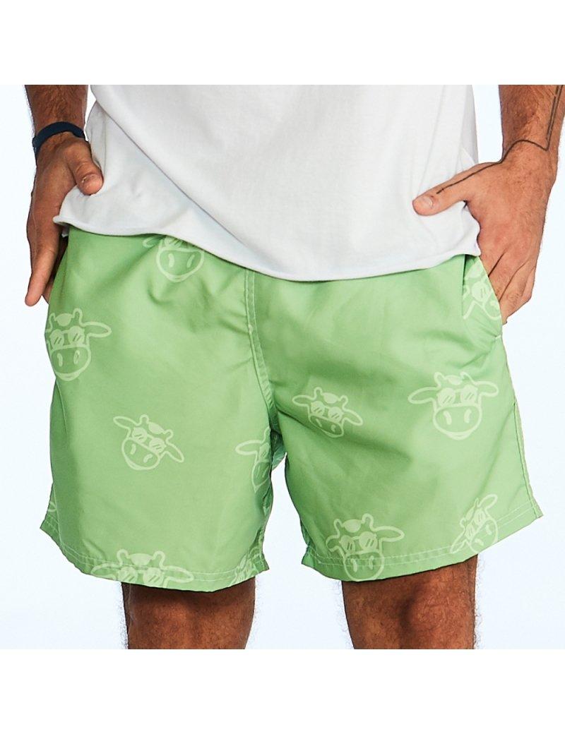 Shorts de Praia Liso Tom Sobre Tom Masculino - Verde Abacate