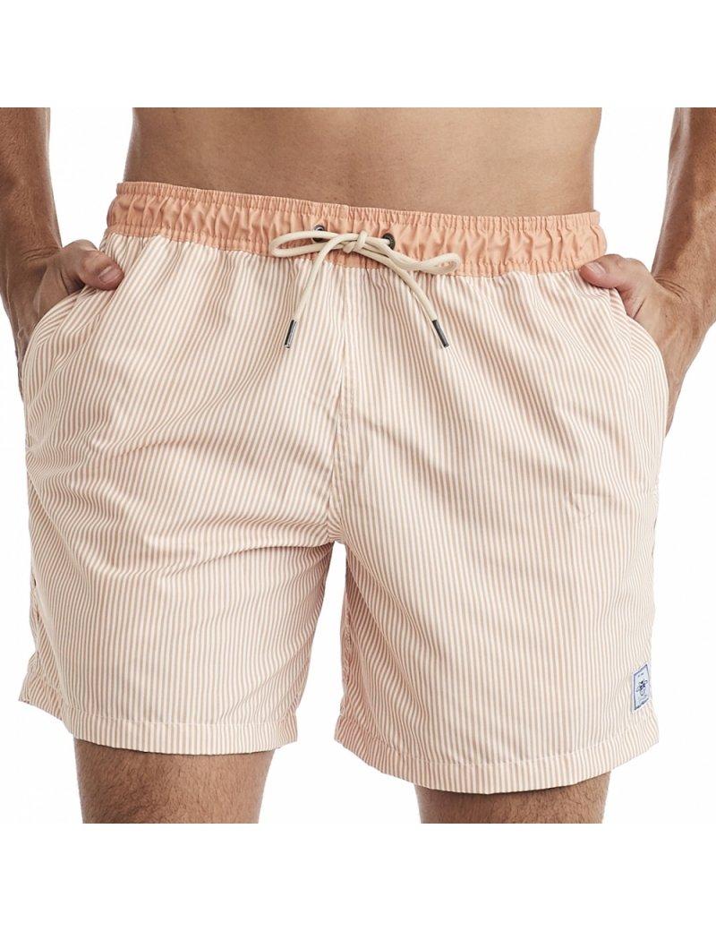 Shorts de Praia Masculino Listrado Marrocos - Laranja
